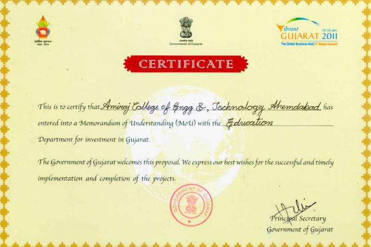 Vibrant Gujarat Certificate